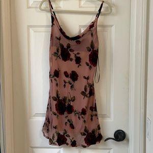 Floral Cowl Neck Mini Dress